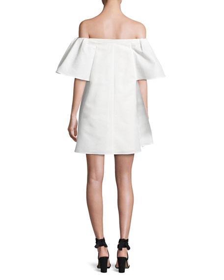 Off-the-Shoulder Metallic Jacquard Cocktail Dress, White
