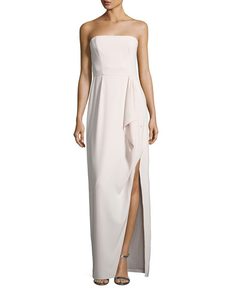 Halston Heritage Structured Stretch Crepe Column Gown, Primrose