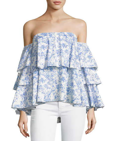 Caroline Constas Carmen Off-the-Shoulder Printed Blouse, Blue/White