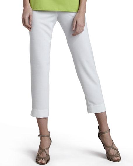 Caroline Rose Shantung Big-Button Shirt, Tank & Slim