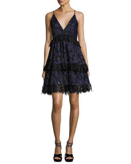 Lace Sleeveless Corset Fit & Flare Dress, Navy