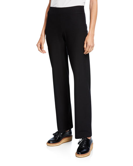 Petite Washable-Crepe Straight-Leg Pants