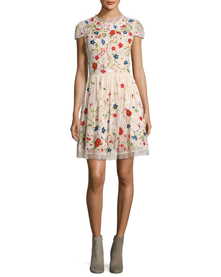 Alice + Olivia Ariel Cap-Sleeve Embroidered Lace Cocktail