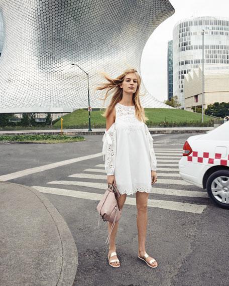 Newton Lace-Trim Cotton Dress, White