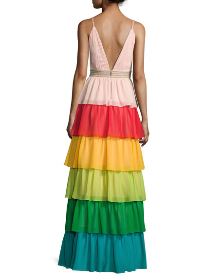 Image 3 of 4: Luba Sleeveless Tiered Chiffon Gown, Multicolor