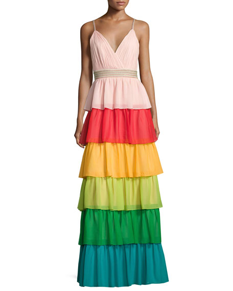 Image 1 of 4: Luba Sleeveless Tiered Chiffon Gown, Multicolor