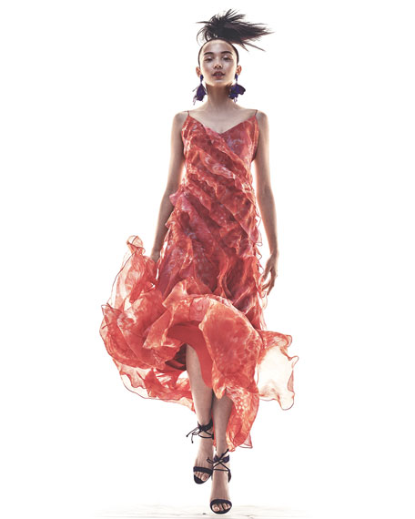 Sleeveless Floral Silk Ruffle Gown, Coral
