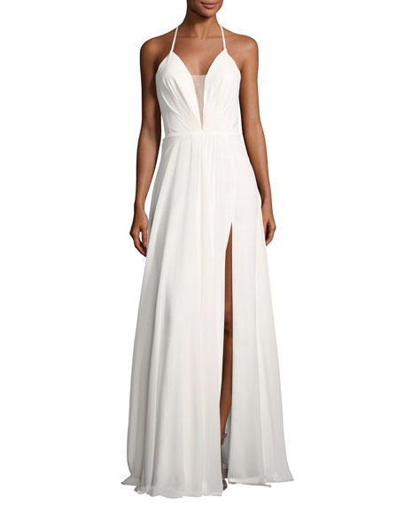 Faviana Sleeveless Ruched Strappy Chiffon Gown, White