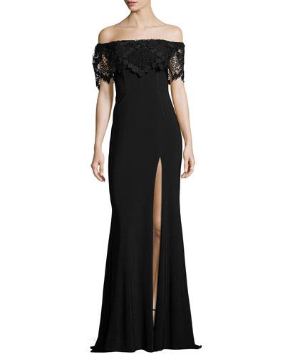Off-the-Shoulder Stretch Crepe Gown, Black