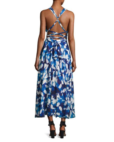 Silk Chiffon Petal Midi Dress, Blue