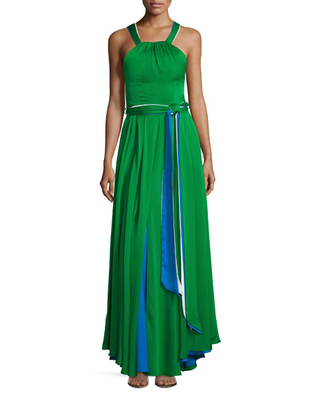 Milly Daphne Sleeveless Stretch Silk Gown, Multicolor