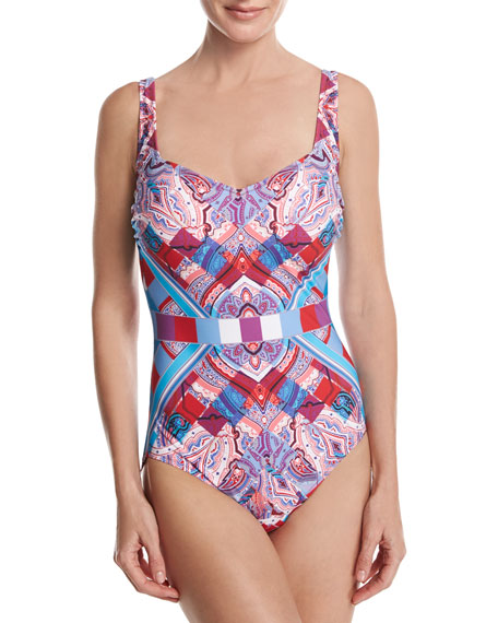 Harlequin V-Neck One-Piece Swimsuit, Red/Pink/Blue