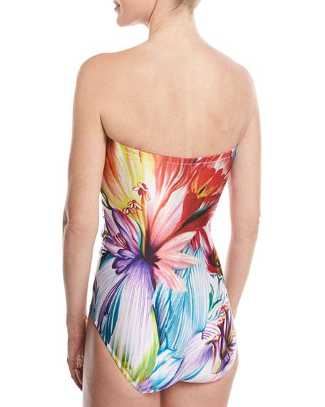 Spring Embrace Floral-Print One-Piece Bandeau Swimsuit