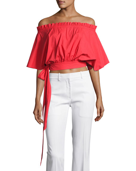 Saloni Drew Off-the-Shoulder Crop Top, Red