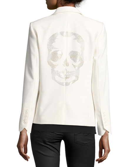 Victor Bis Rhinestone Skull Blazer, Ecru