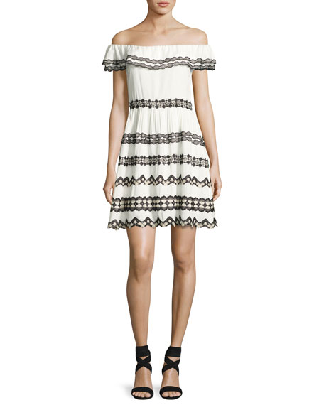 Alice + Olivia Rozzi Off-the-Shoulder Dress, Multi