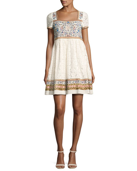 Alice + Olivia Asia Embroidered Square-Neck Babydoll Dress,