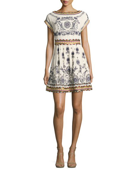 Gertie Embroidered Flare Dress, Multi