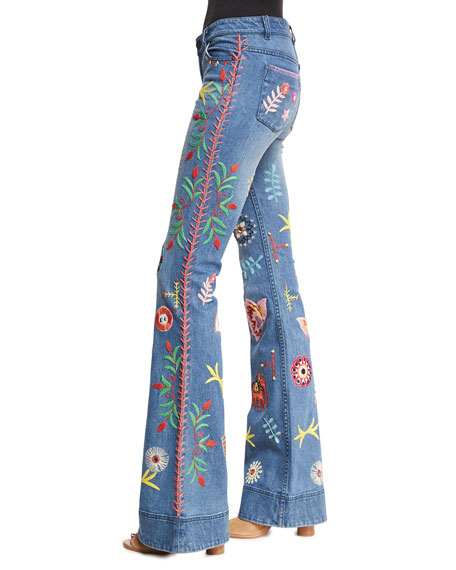 Alice   Olivia Ryley Embroidered Low-Rise Bell-Bottom Jeans ...