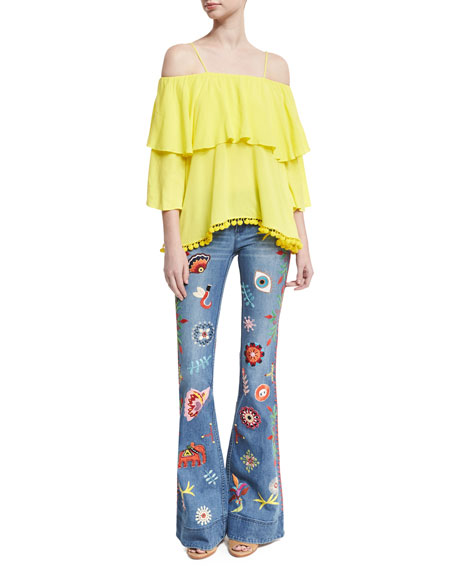 Ryley Embroidered Low-Rise Bell-Bottom Jeans, Multicolor