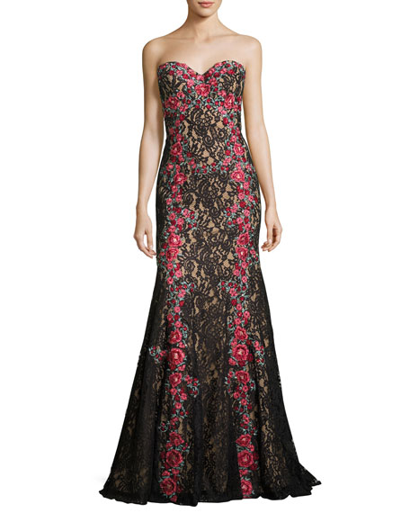 Jovani Strapless Embroidered Floral Lace Gown, Black/Multicolor