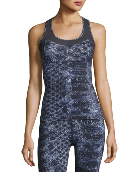 Varley Vidora Vest Sleeveless Printed Top, Blue