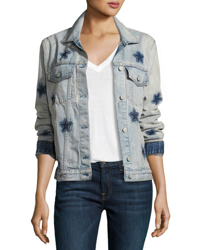 Knox Star-Print Denim Jacket, Blue