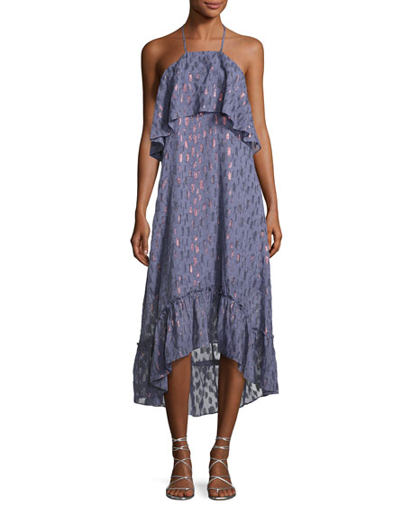 Ella Moss Stargazer Tiered Chiffon Maxi Dress, Blue
