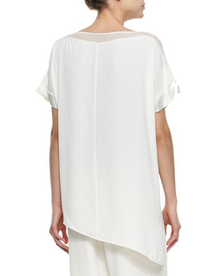 Silk Boat-Neck Easy Tunic, Plus Size