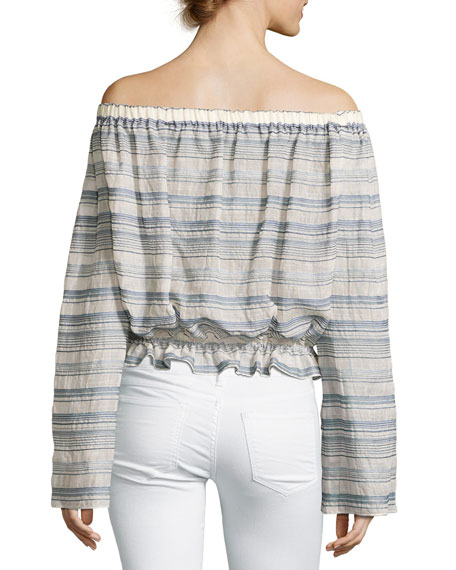 Odettah Vall Striped Off-the-Shoulder Top, Shell Multicolor