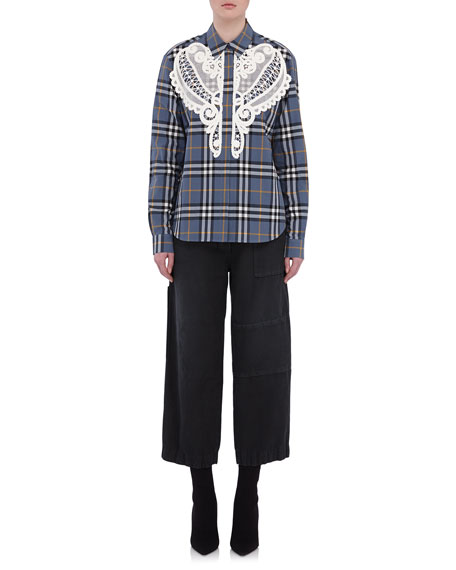 Burberry Check Shirt with Lace Detail