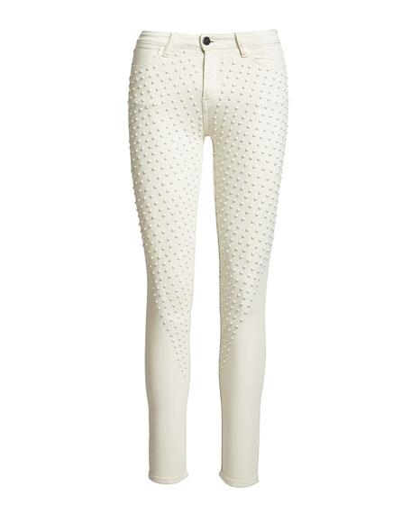 Reina Max Lacey Skinny Pants, White
