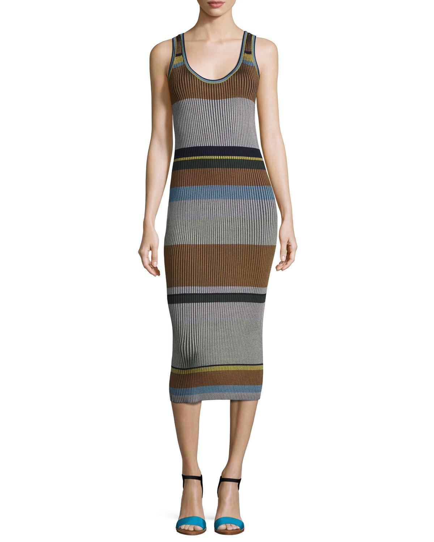 Striped Ribbed Cotton-blend Dress - Navy Diane Von F LIA6rAT0