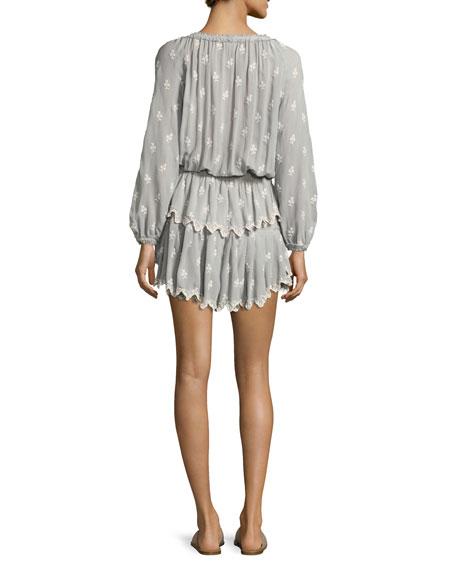Popover Embroidered Ruffled Mini Dress, Beige