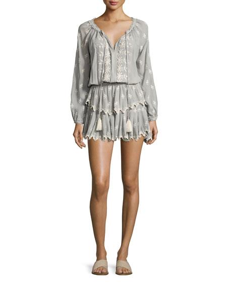 Loveshackfancy Popover Embroidered Ruffled Mini Dress, Beige