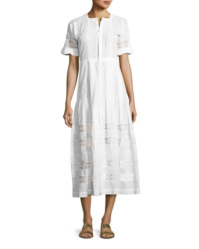 Edie Lace-Inset Cotton Dress  White
