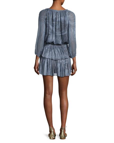 3/4-Sleeve Popover Silk-Blend Dress, Blue