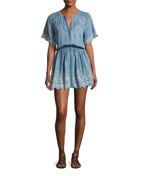 Loveshackfancy Charlie Chambray Dress, Blue