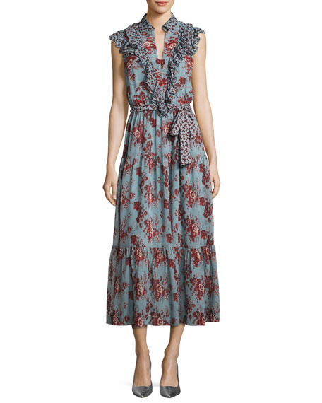 Robert Rodriguez Rose-Print Sleeveless Belted Dress with Ruffle