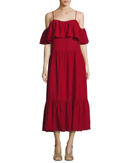 Off-the-Shoulder Ruffled Midi Dress, Crimson