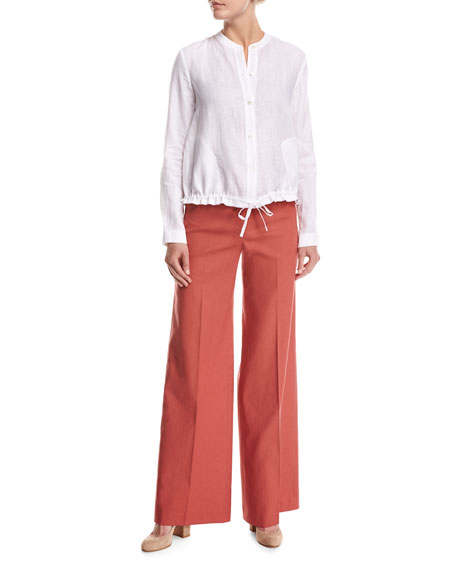Theory Terena High-Waist Wide-Leg Pants, Red