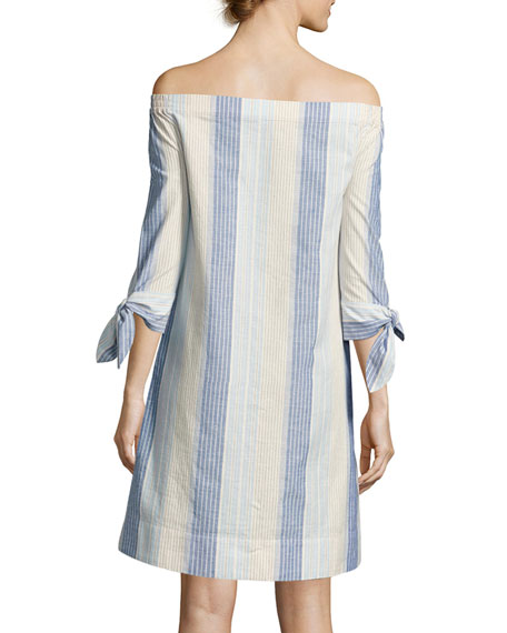 Natayla Caribbean-Striped Off-the-Shoulder Dress, Multi