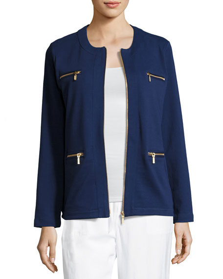 Joan Vass Plus Size Stretch Interlock Zip-Front Jacket