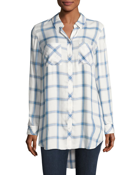 Go Silk Long-Sleeve Button-Front Plaid Shirt, Blue/White, Petite