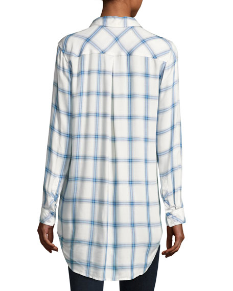 Long-Sleeve Button-Front Plaid Shirt, Blue/White, Plus Size