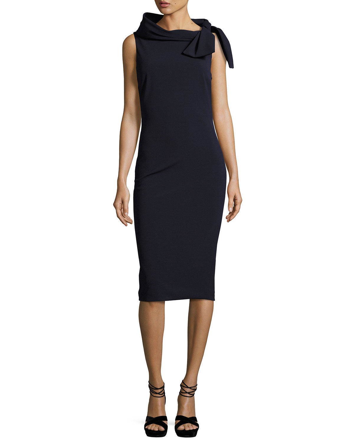 2d122b74f37 Badgley Mischka Collection Sleeveless Tie-Neck Cocktail Dress