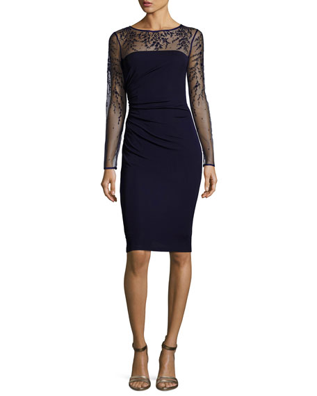 Long-Sleeve Jersey Illusion Cocktail Dress, Dark Navy