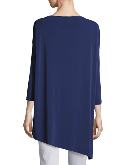 Crepe Jersey Asymmetrical Oversized Tunic, Delft