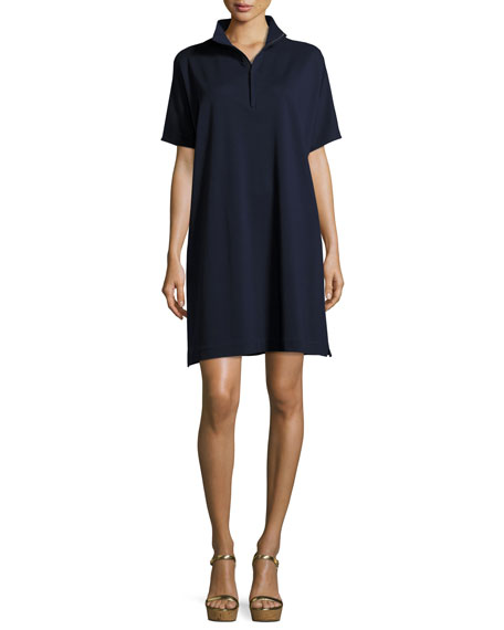 Joan Vass Short-Sleeve Piqué Dress, Petite
