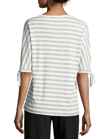 Striped Tie-Cuff Tunic, Petite